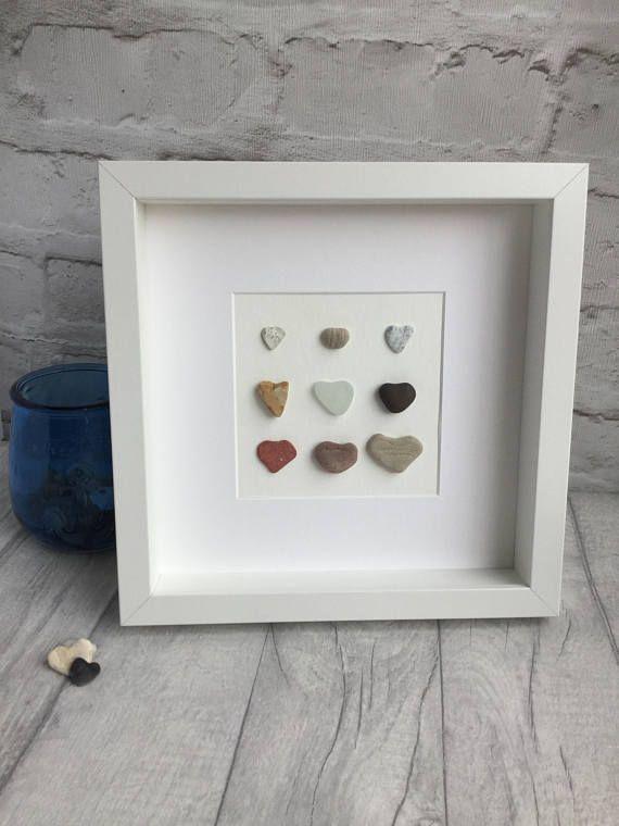 Pebble art love hearts sea glass heart collection of hearts