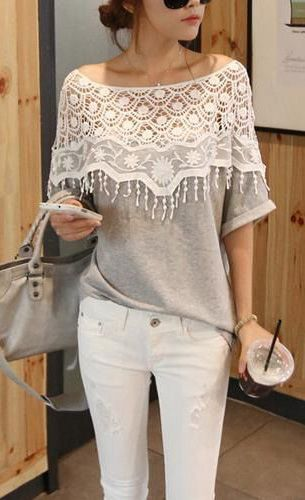 Women's Crochet Cape Collar Batwing Sleeve T-Shirt