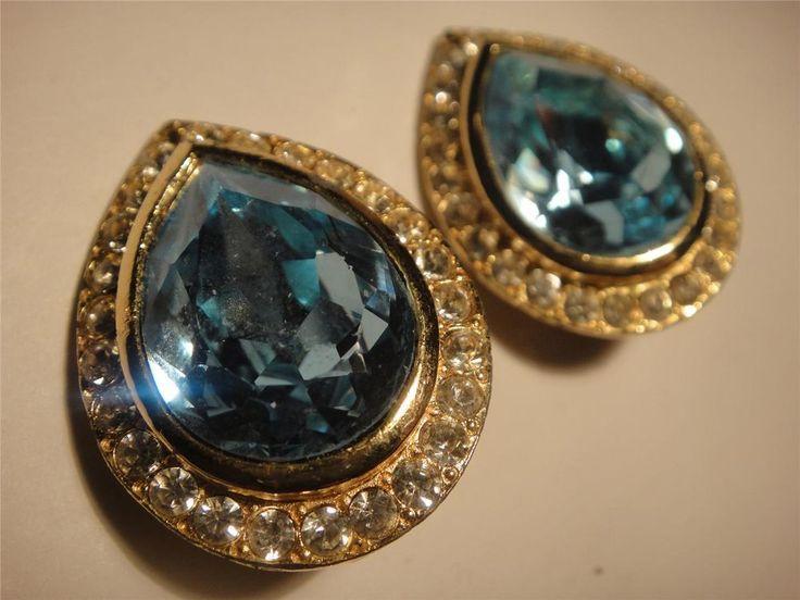 diamante faux aquamarine cut glass vintage clip on earring elegant quality mint expires 22nd November