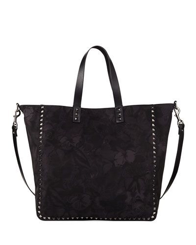 Men's Camu Butterfly Rockstud Nylon Tote Bag