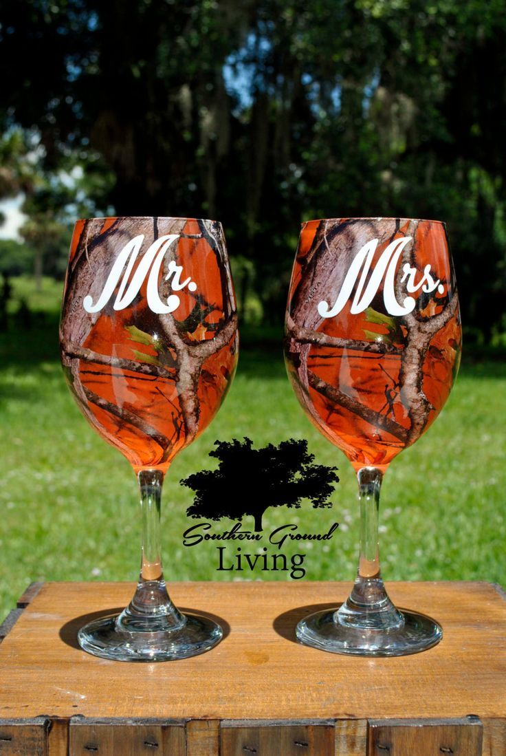 Mr and Mrs Orange Camo Wedding Wine Glass Set - Rustic Wedding - Southern Wedding - Wedding Gift by SouthernGroundLiving on Etsy