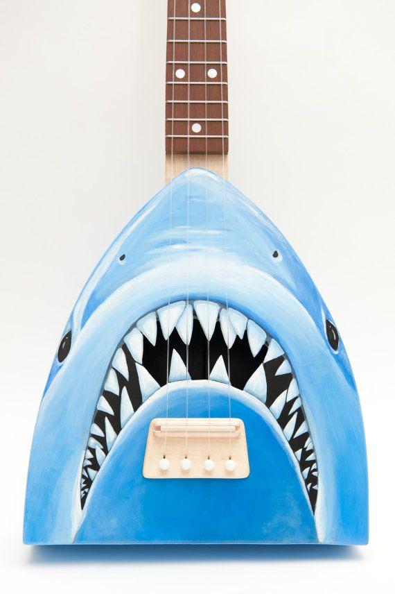 Ukulele with shark design