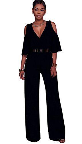 47503ab2d79c48 Dooxi Damen Elegant Einfarbig Weitem Bein Jumpsuit Tiefer V-Ausschnitt Lange  Overall Hose Party Abendmode