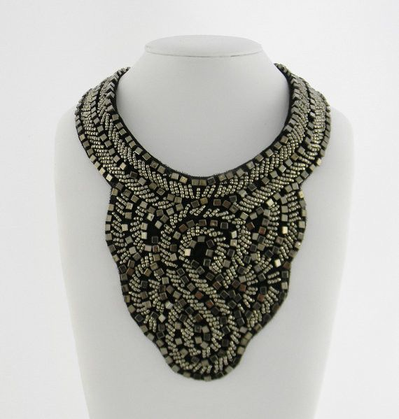 SILVER SMOKE CHARCOAL Color Beaded Bib Collar Statement Necklace