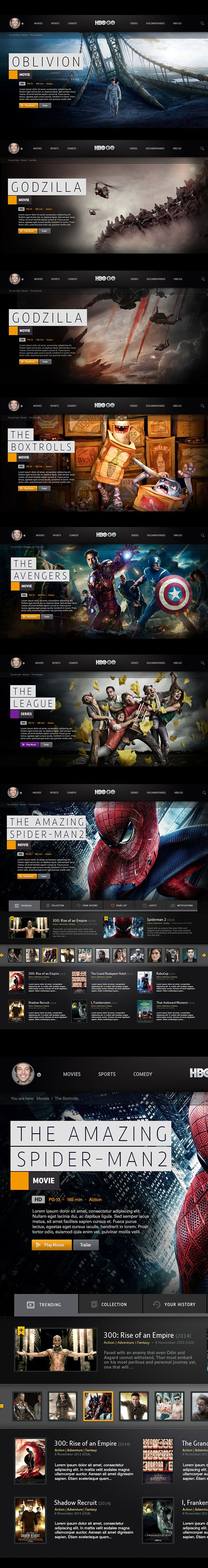 HBO GO : Interactive on Behance  | web design inspiration | digital media arts college | www.dmac.edu | 561.391.1148