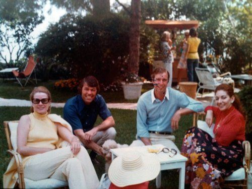 From Left to Right: HSH Princess Grace of Monaco, Pat Rooney (Richard´s colleage friend), Richard Roe (the son of Meg Davis- niece of Princess Grace) and singer Maria Callas in the palace´s garden.  Monaco, 1970.