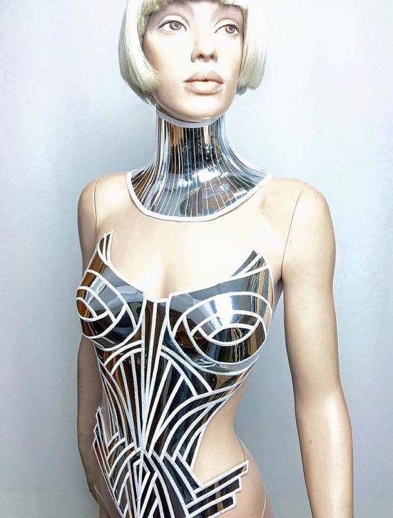 chrome metropolis corset sci fi costume metal corset  by divamp