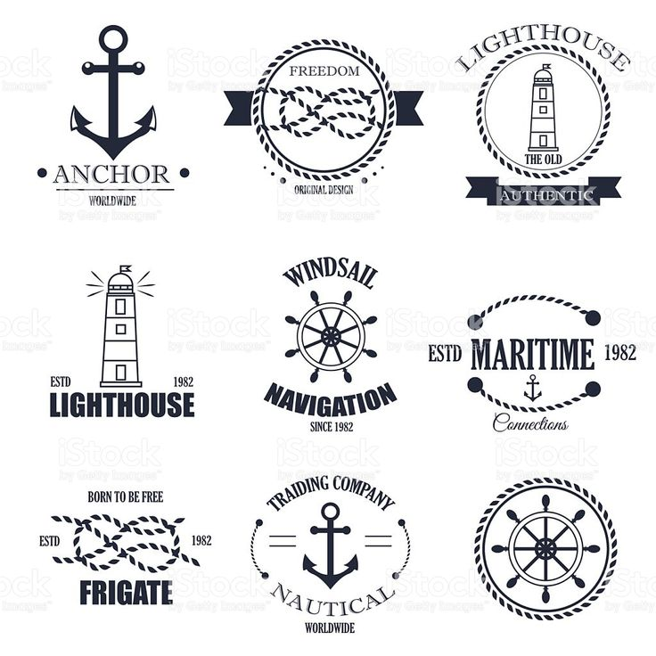 Set of vintage retro nautical badges and vector labels. royalty-free stock vector art