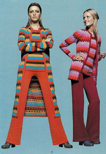 From the 'Twiggy Book of Knitting Machine Patterns', 1970. Why haven't I seen this before?