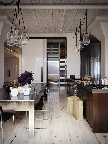 I love the play of wood vs. metal in this Kitchen. It has a very industrial  feel from the table, light fixtures and chairs, but adding hits of wood on  the ...