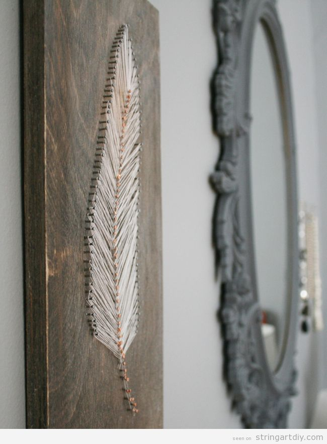 feather string art  ideas to decorate a wall 3