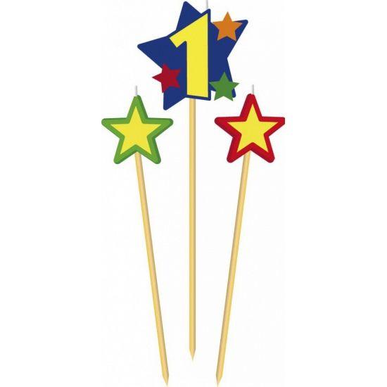 Prikker kaarsje cijfer 1. Set van 3 houten prikkers met kaarsje waaronder een prikker met het cijfer 1 en twee prikkers met een ster.