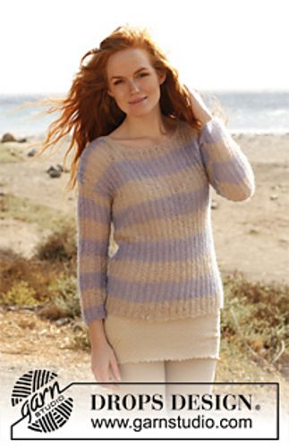 """Ravelry: 138-7 """"Autumn Comfort"""" - Jumper with English rib in """"Vivaldi"""" with ¾ sleeves pattern by DROPS design"""