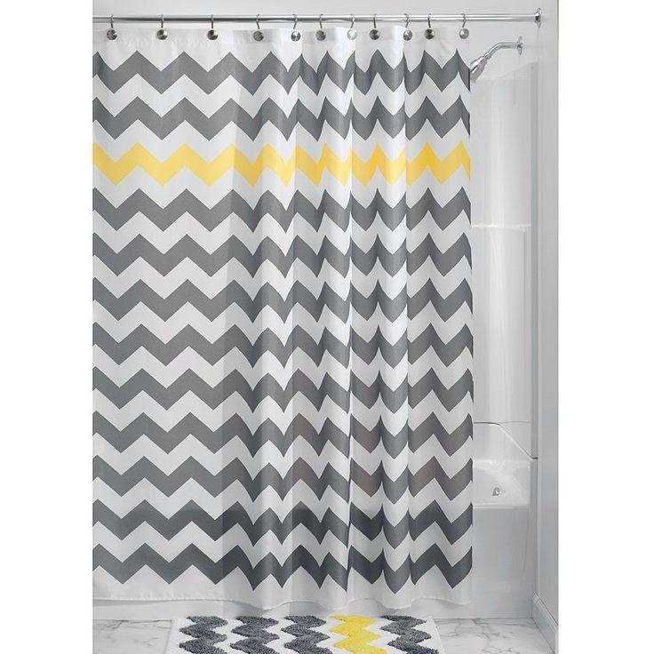 Grey Yellow White Chevron Zig Zag Stripe 72 Inch Shower Curtain