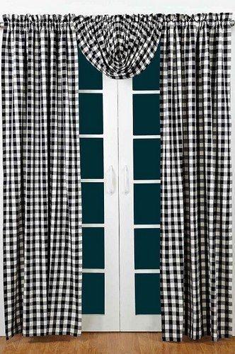 "Buffalo Black Check Lined Panel Curtains 84"" – Primitive Star Quilt Shop"