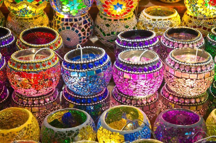Oriental Turkish Lanterns At Istanbul Market, Turkey Stock Photo ...