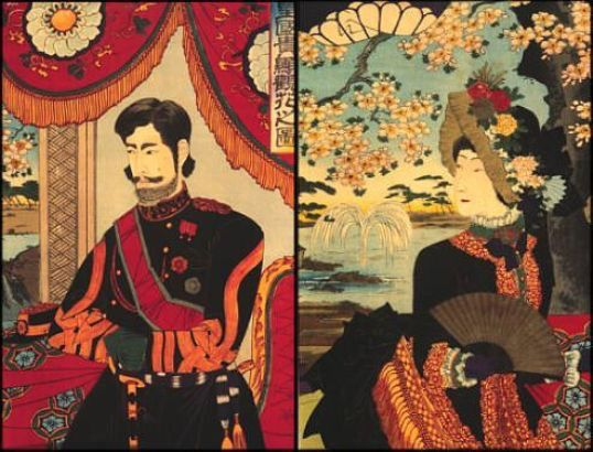 The Meiji Restoration in 1868 ended a long period of isolation in Japan . The Japanese style of art had a significant effect on the style of the Impressionists . The Emperor and the Empress . Woodblock prints .