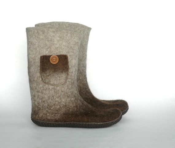 Handmade felted boots Women boots Natural and Easy for women Woolen shoes Winter boots Boots with pocket 100% wool Gift for her