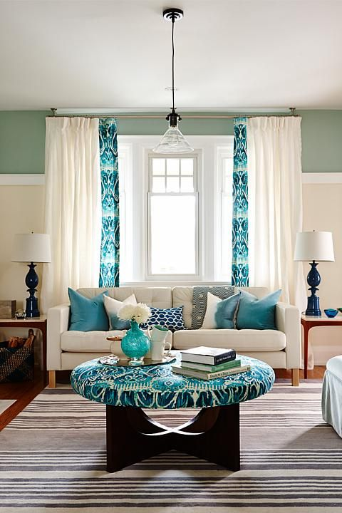 pretty window treatment from Globe and Mail Real Potential Turquoise Living Room