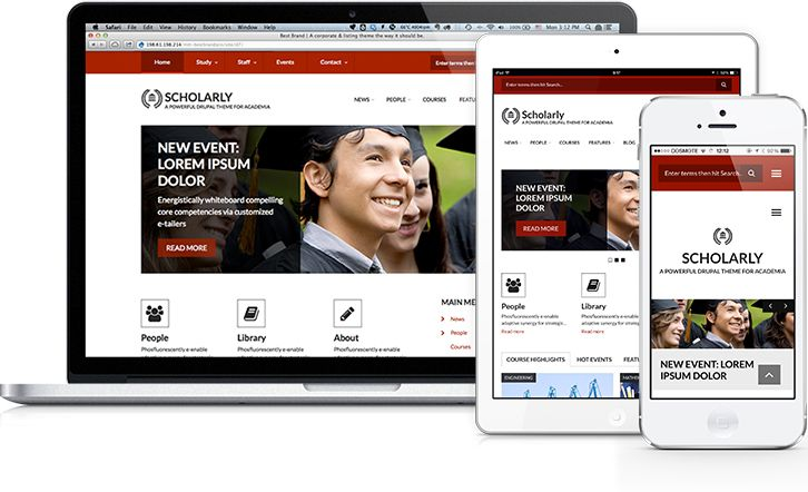 SCHOLARLY  A powerful Drupal theme to power your education-oriented site.  Ideal for universities & university departments, schools, seminars and online courses.   With content types for faculty, students, courses and events. Bootstrap-based, feature-rich, clean, classic yet modern. Combining a beautiful design, with exceptional functionality.