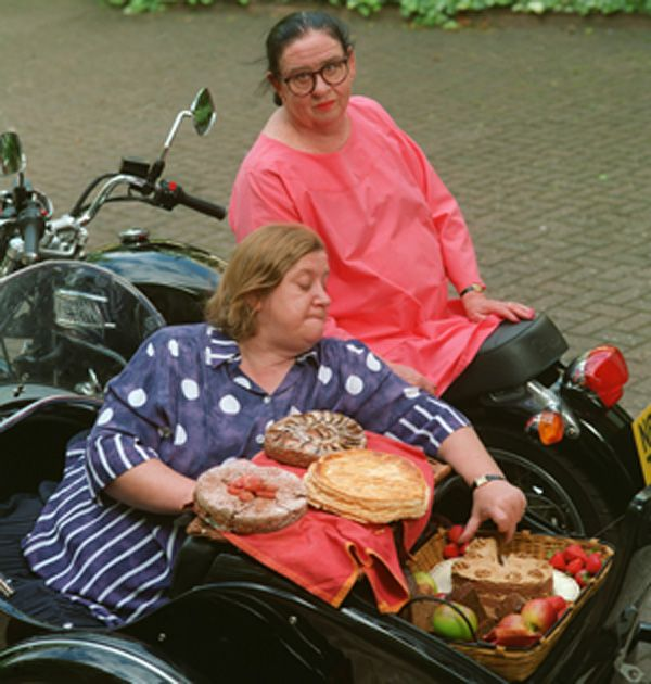 Cakes. Two Fat Ladies: Series One, Episode Four. Location: Hallaton, Leicestershire. Baked for the annual village fête. The recipes were Galette des Rois; Yorkshire Gingerbread; Danish Apple and Prune Cake; and Coffee and Walnut Cake.