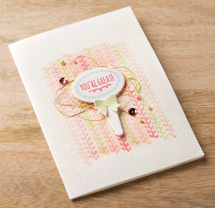 We love the stamping layered on the watercolor background of this card made with the From The Garden stamp set.