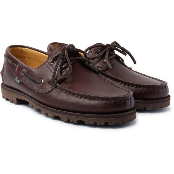 Arpenteur + Paraboot Malo Leather Boat Shoes (20.105 RUB) ❤ liked on Polyvore featuring men's fashion, men's shoes, mens deck shoes, mens leather boat shoes, mens leather deck shoes, sperry top sider mens shoes and mens boat shoes