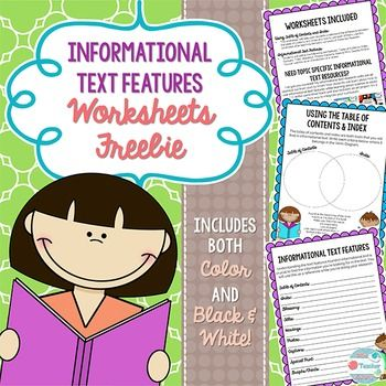 This informational text (expository text) freebie includes 2 worksheets in both color and black and white. Using Table of Contents and Index:This worksheet will help your students understand the difference between the table of contents and index and how to use each of them.