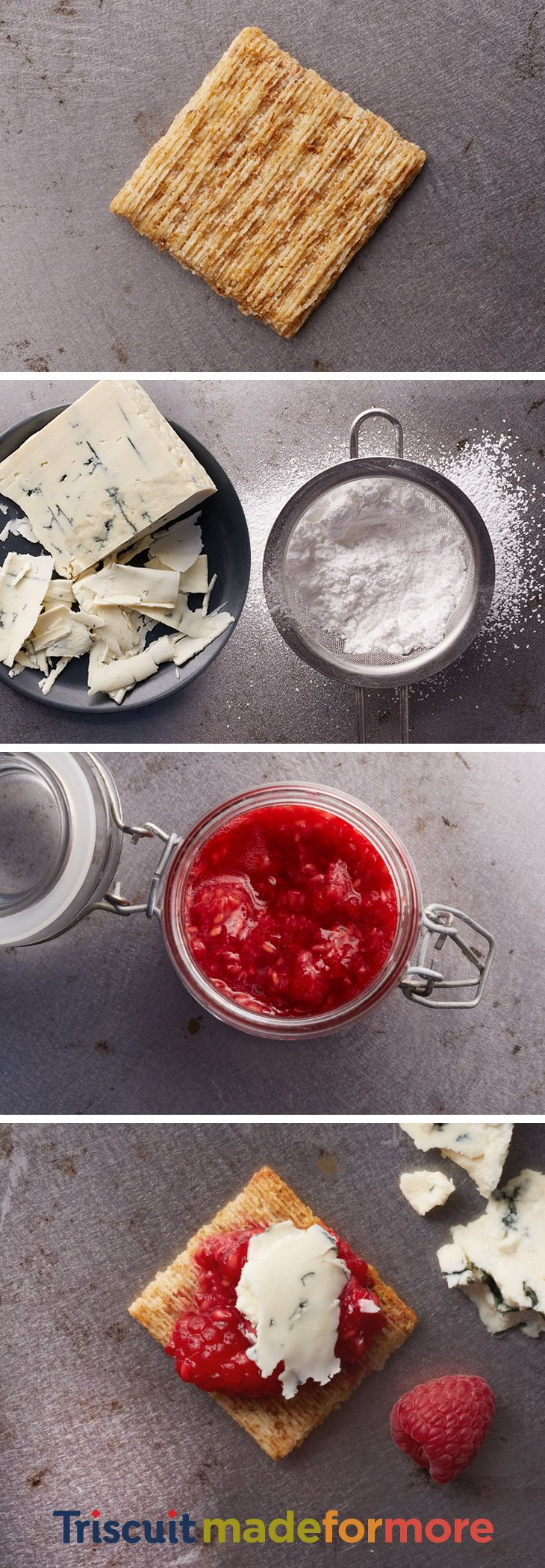 Raspberries, confectioners sugar and a wedge of rich, tangy Roquefort cheese…