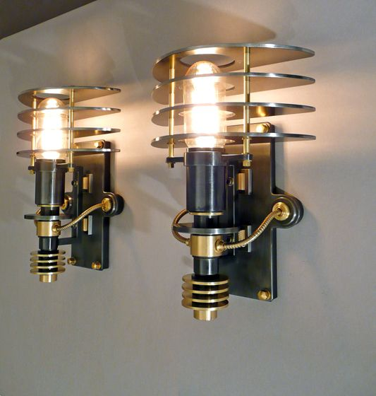 Light fixtures by Frank Buchwald - Love the 50's feel, neo-industrial look
