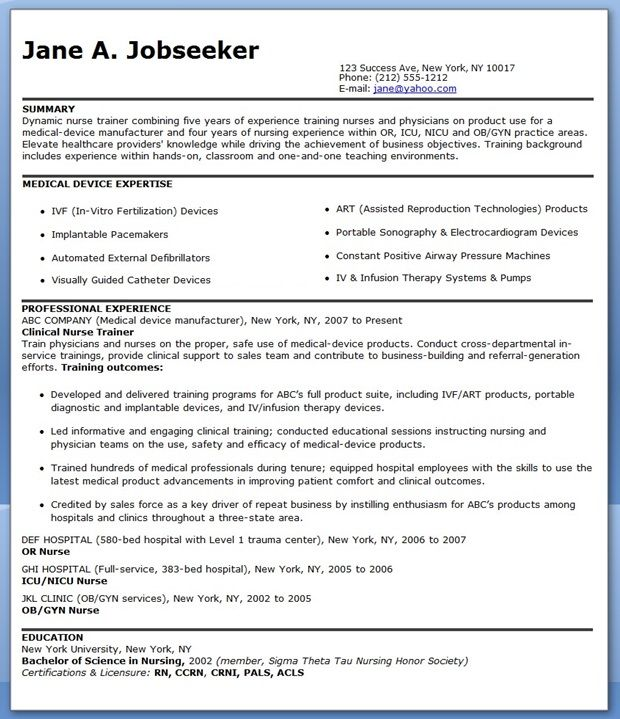 resume for nurse educator position