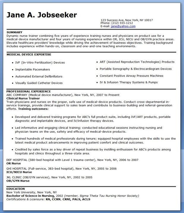 resume examples for nurse educator