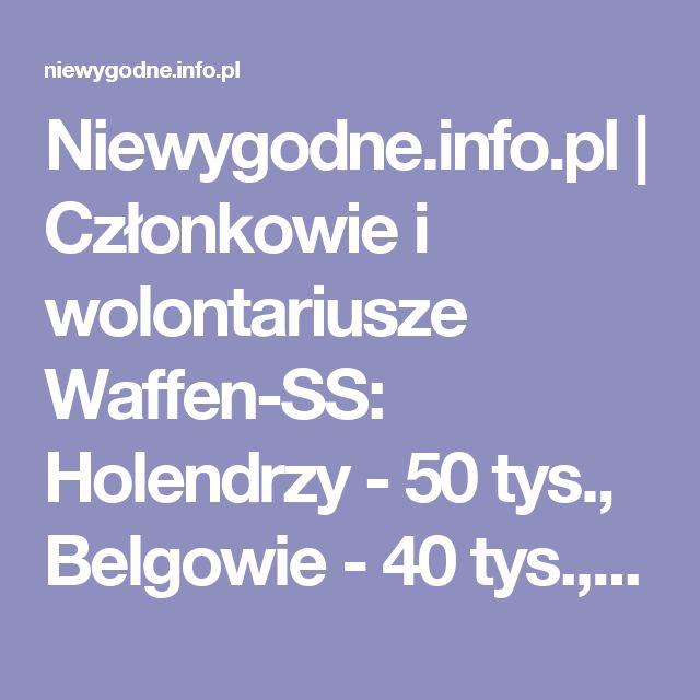 Niewygodne.info.pl | Członkowie i wolontariusze Waffen-SS: Holendrzy - 50 tys., Belgowie - 40 tys., Ukraińcy - 25 tys., Francuzi - 8 tys., Polacy - 0