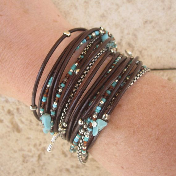 bonita combinación: Boho Chic, Style, Seeds Beads, Brown Leather, Wrap Bracelets, Memories Wire Bracelets, Leather Wraps Bracelets, Leather Bracelets, Native American