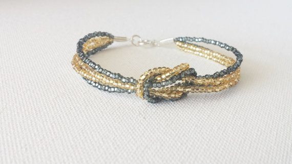 Gold and gray bracelet,charcoal bracelet,seed bead jewelry,seed bead bracelet,square knot bracelet,beaded bracelet,bridesmaid gift,gift idea