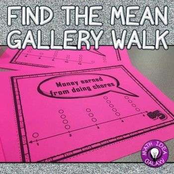 This gallery walk is perfect for math stations. Students work with a partner & practice finding the mean in a set of data. Includes 6 ready to go stations with 4 questions each.
