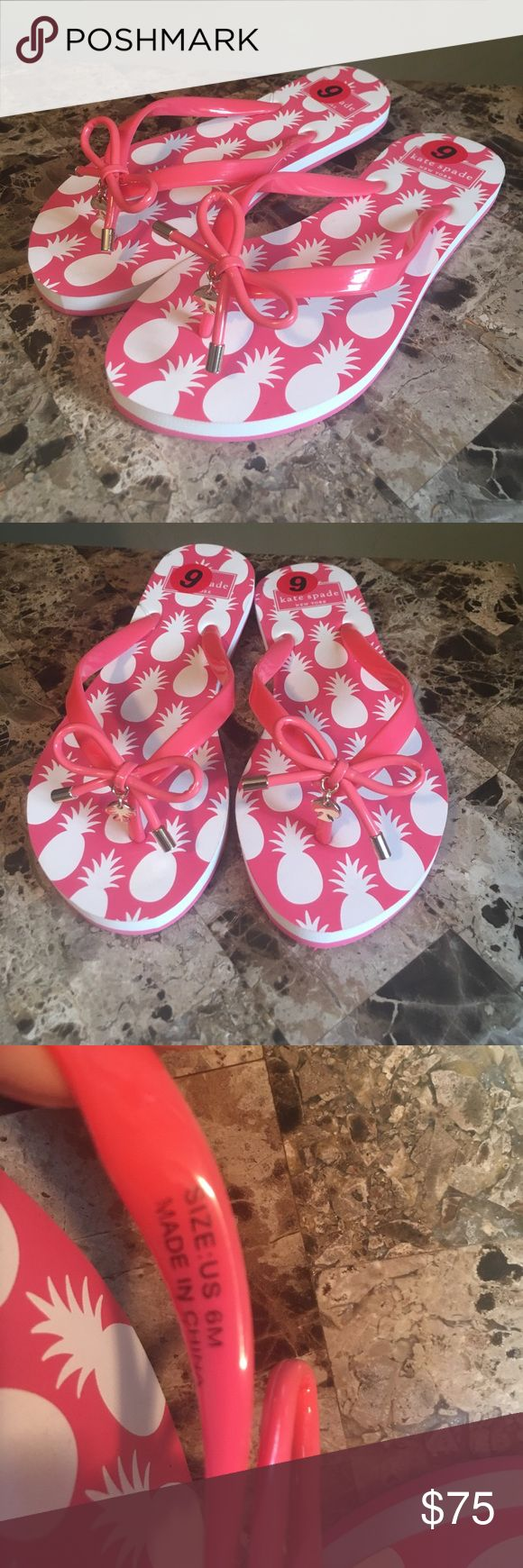 Kate Spate Coral pink Bow Charm Flip Flops size 6 New without box and tag Kate Spade Bow and charm Flip Flops size 6.   Color is a coral pink and white.  I bought the wrong size and have been sitting in the closet.  Has a small stain in the left heel, see last photo.  Please make a reasonable offer below and if agreed, I will discount it.  You have an hour after discount to purchase it to get discounted shipping only this weekend offered by posh. kate spade Shoes Sandals