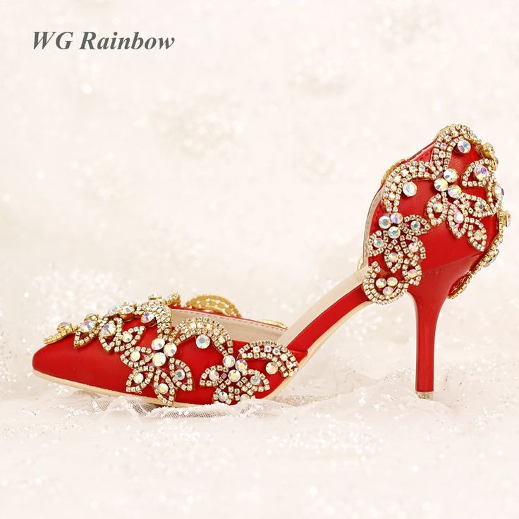 (42.99$)  Know more  - Red Vintage Bridal Shoes ABS Rhinestones Women High Heels Shoes Pointed Toe Diamond Wedding Pumps Party Dress Shoes Woman