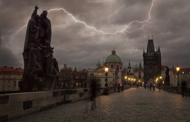 Lightning storm over Charles Bridge - Please press H and M  to fully appreciate this photo! Thank you for visiting and commenting My best regards from Rhodes !!! © Copyrigh Dimitris Koskinast : The reproduction, publication, modification, transmission or exploitation of any work contained herein for any use, personal or commercial, without my prior written permission is strictly prohibited