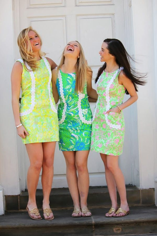 Kara, Mary Catharine, and Kristina looking fab in our favorite new shift, the Liz! http://lillypinkpalm.blogspot.com/