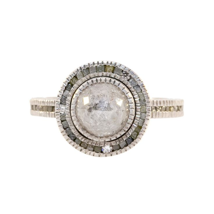 TRDR405-pd-42: The one of a kind ring centers a rose cut gray diamond with a raw cubed diamond and full cut diamond halo and band. Finger size 6.75. Diamond: Round rose cut gray raw diamond 2.53 carat
