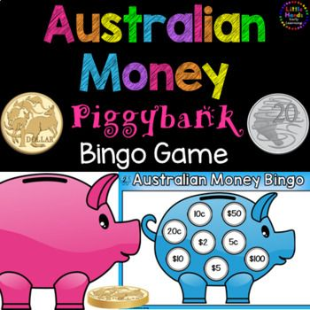 Australian Money Bingo Game. The Australian Money Piggybank Bingo Game  includes a set of 6 Australian Money Bingo Boards (6 colour and 6 black and white) and 11 Bingo calling cards. The following Australian coins and notes are included; 5 cents, 10 cents, 20 cents, 50 cents, 1 dollar, 2 dollars, 5 dollars, 10 dollars, 20 dollars, 50 dollars and 100 dollars.