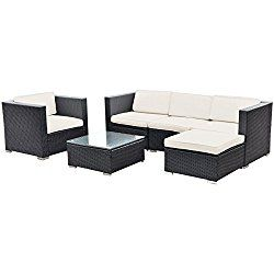 Tangkula 6 PC Patio Rattan Furniture Set Sectional Cushioned Seat Garden
