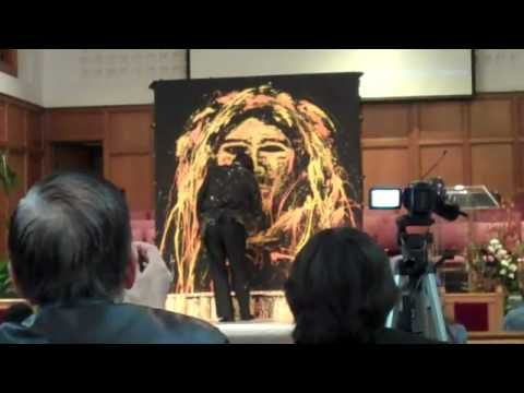 hand painting of Jesus blind folded
