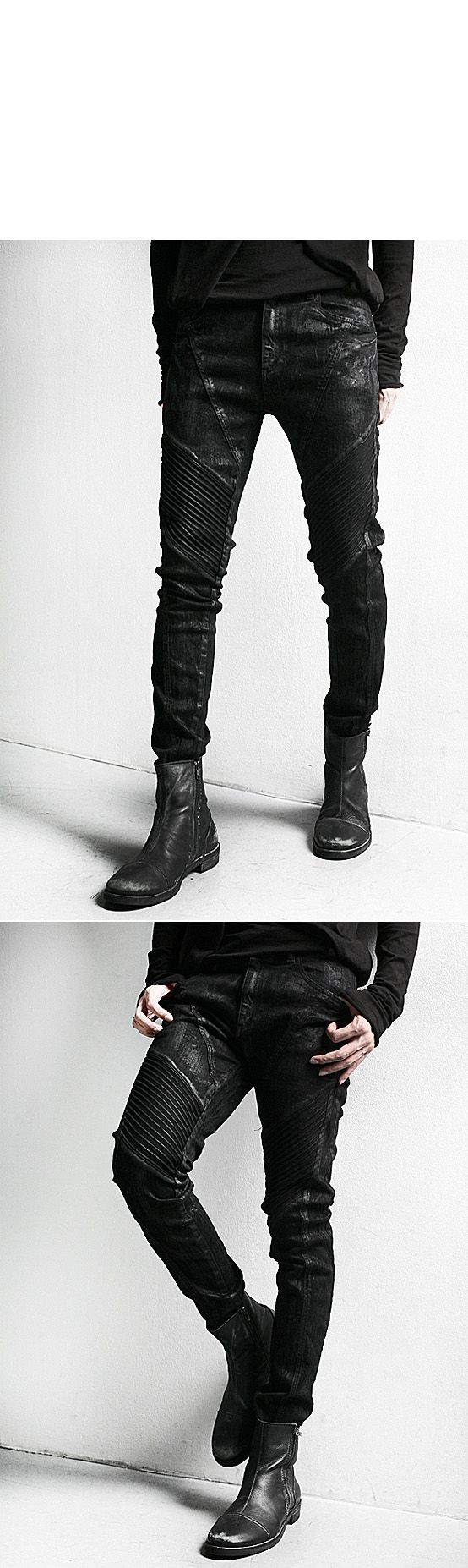 Bottoms :: Dark Cloud Washing Skinny Black Biker Jean - 64 - New and Stylish - Fast Mens Fashion - Mens Clothing - Product