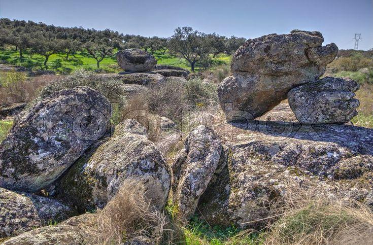 Stock image of 'Berrocal of Rugidero at  Cornalvo Natural Park, Extremadura, Spain. Rocky formations '