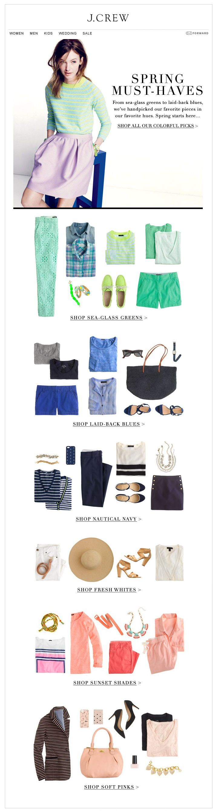 J. Crew email template, minimal, white space