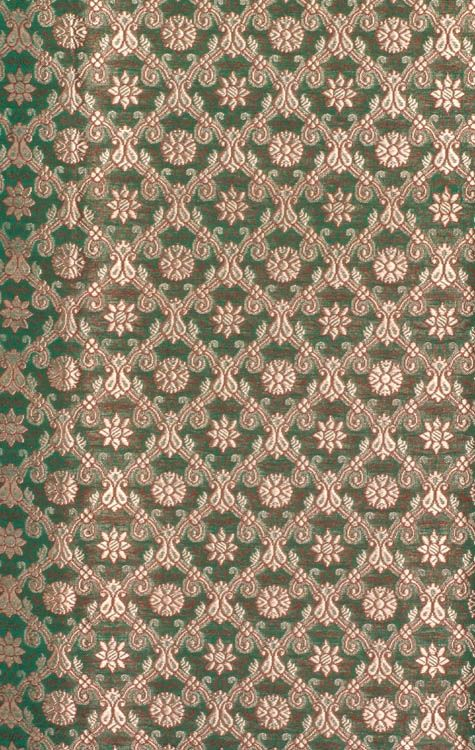 Islamic Green Katan Fabric from Banaras with All-Over Golden Thread Weave
