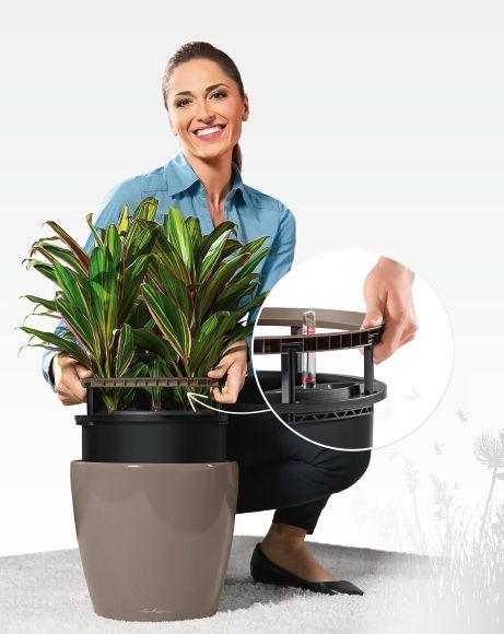 Lechuza Classico LS kaspó   A kiemelhető belsőnek köszönhetően a növényt könnyedén kicserélhetjük a kaspóban.