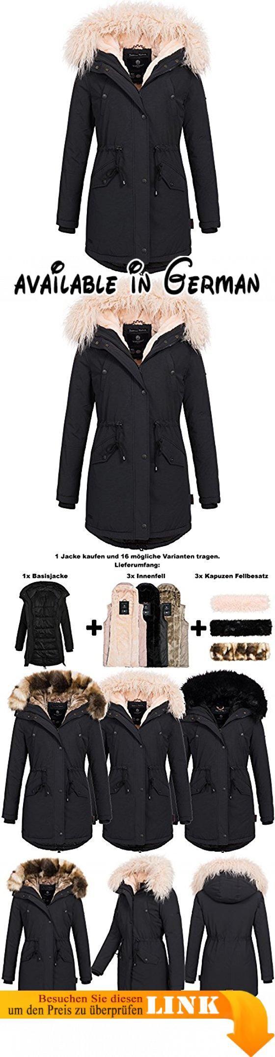 Marikoo TIRAMISU 16in1 Damen Jacke Parka XXL Fell Winterjacke Mantel 3-Farben WoW inklusiv Lieferumfang: 3x Innen- und Außenfell XS-XXXXXL, Größe:S - 36;Farbe:Schwarz. Mit dem Kauf von diesem Parka können Sie Ihrer Fantasie freien Lauf lassen. Sie haben 16 mögliche Trage Varianten. Sie kaufen hier ein Set, bestend aus: 1xBasisjacke + 3x Innenfell(Rosa, Braun, Schwarz) + 3x Kunsfellkragen(Rosa, Camouflage, Schwarz). Der Mantel ist nicht nur optisch ein Highlight sondern